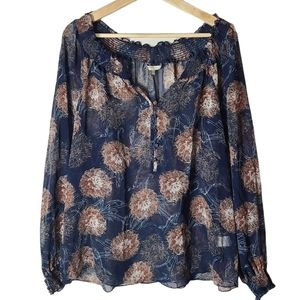 RW&CO. Blue floral long-sleeved ruffled blouse top